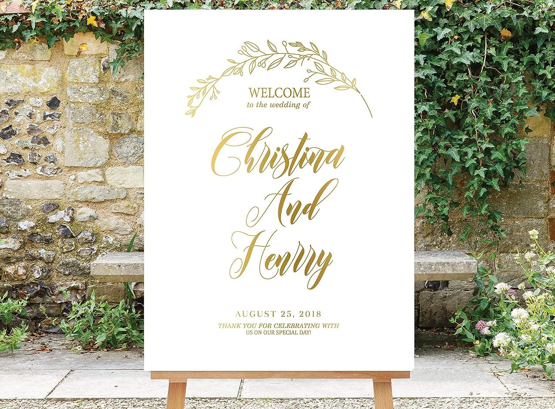 Promini Wedding Welcome Sign Gold Reception Glitter Confetti Pla