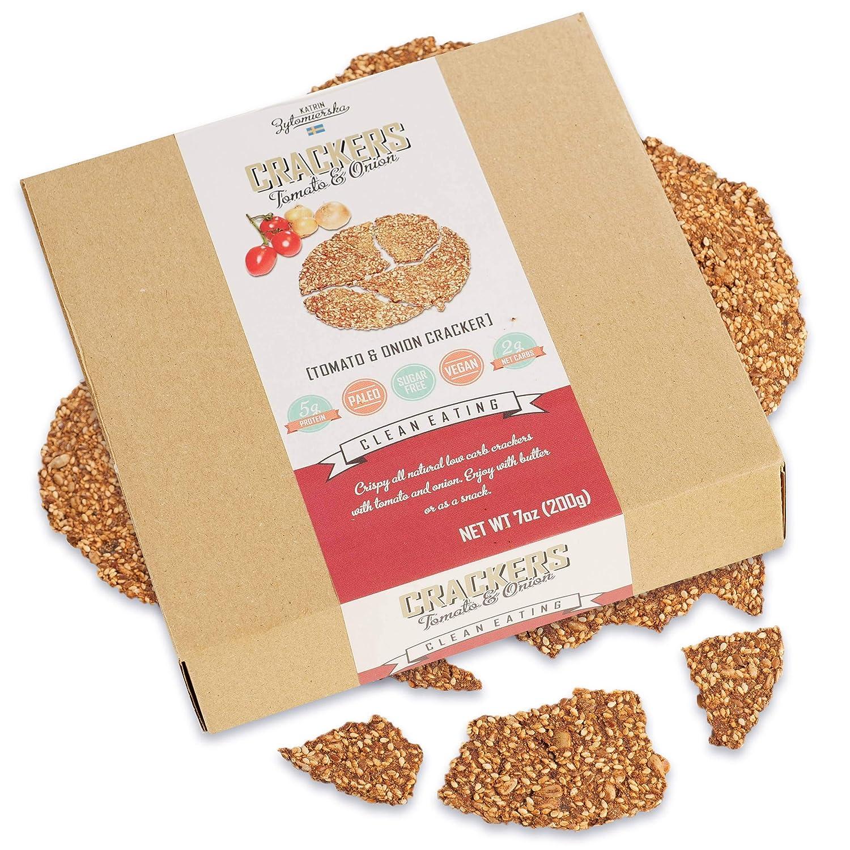 KZ Clean Eating Vegan High Protein Crackers Keto Paleo Friendly Low Carb, Tomato & Onion 5.65oz