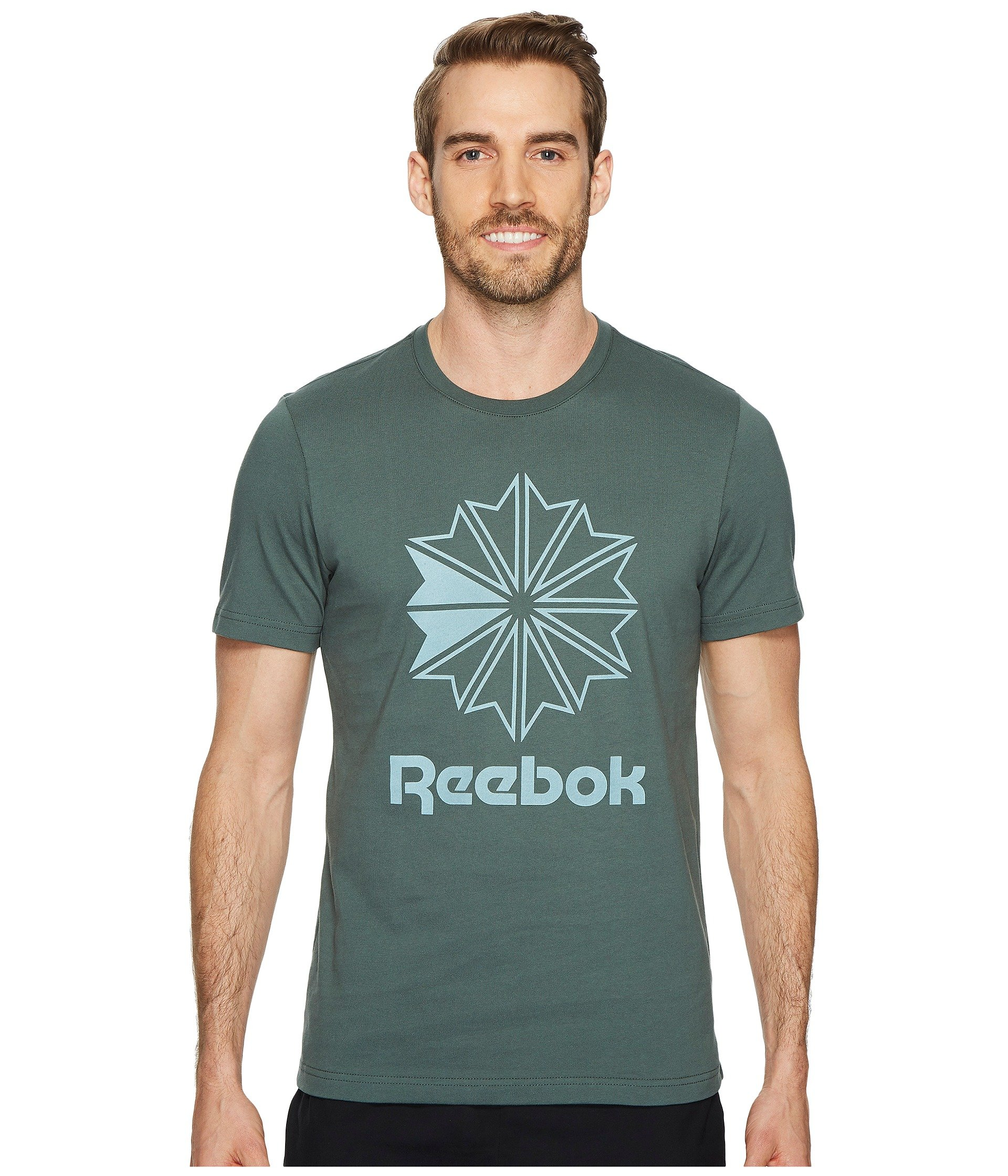 b8d11e7cb0c1 Stay classic in the Reebok® Classics Tee. Slim fit. Classic T-shirt  fabricated in a soft cotton. Crew neckline. Short sleeves.
