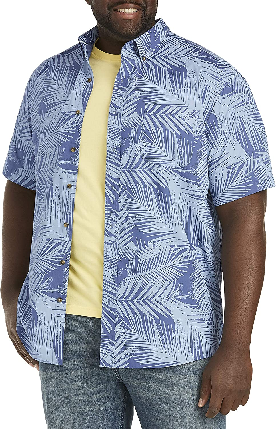 Harbor Bay by DXL Big and Tall Easy-Care Tonal Leaf Sport Shirt, Blue