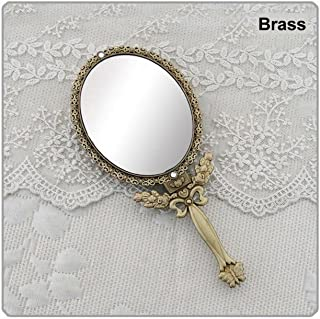 Butterfly Designed Double Sided Magnification Hand Held Makeup Metal Mirror Folding Handle Stand Travel Mirror (Large, Brass)
