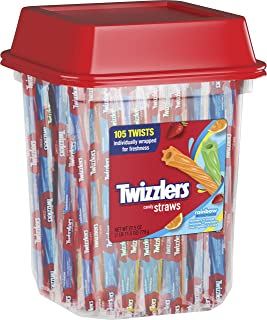 TWIZZLERS Licorice Candy, Rainbow Straws, 105 Count, 27.5 Ounce