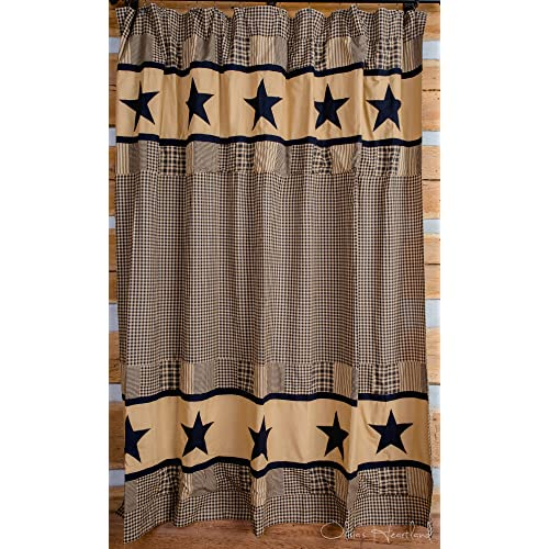 Oliviau0027s Heartland Jamestown Black And Tan Shower Curtain
