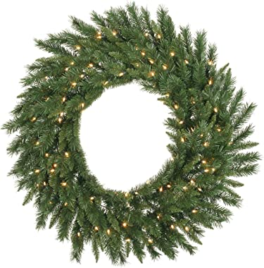 Vickerman Pre-Lit Imperial Pine Wreath with 200 Warm White Italian LED Lights, 60-Inch, Green