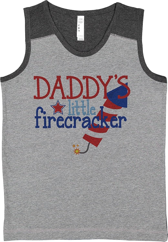 7 ate 9 Apparel Kids 4th of July Daddy's Firecracker Grey Contrast Tank Top
