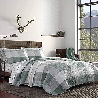 Eddie Bauer Boulder Plaid Quilt Set Twin Pastel Green
