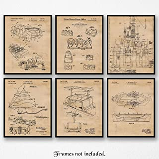 Original Disney Rides Patent Poster Prints, Set of 6 (8x10) Unframed Photos, Wall Art Decor Gifts Under 20 for Home, Office, Garage, Man Cave, Shop, College Student, Teacher, Theme Park & Movies Fan