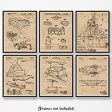 Original Disney Rides Patent Poster Prints, Set of 6 (8x10) Unframed Photos, Wall Art Decor Gifts Under 20 for Home, Office, Garage, Man Cave, Shop, College Student, Teacher, Theme Park & Movies Fan