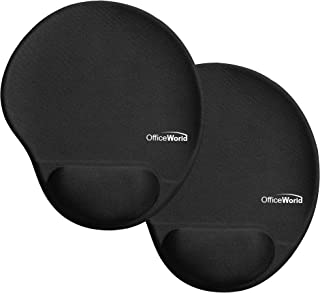 OfficeWorld 2-Pack Mouse Pad with Wrist Support Gel, Ergonomic Mouse Pad with Wrist Rest, Non-Slip PU Base, Black