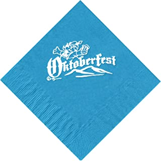 25 Turquoise Oktoberfest Beverage Paper Cocktail Napkins with a White Color Oktoberfest Brewmeister Logo