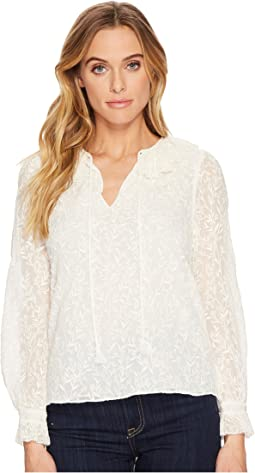 Rebecca Taylor - Long Sleeve Texture Vines Top
