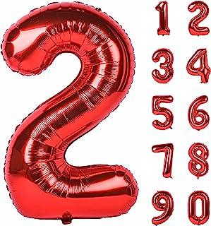 (أحمر، رقم 2) - 100 سم أرقام كبيرة 0-9 زينة لحفلات أعياد الميلاد الهليوم مايلر بالون رقم كبير أحمر 2