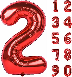40 inch Large Numbers 0-9 Birthday Party Decorations Helium Foil Mylar Big Number Balloon Red 2