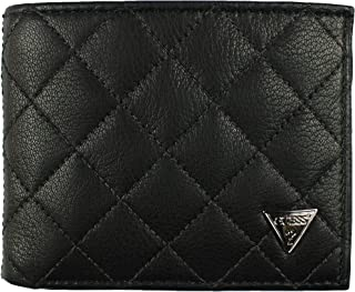 New Guess Men's Black Leather Double Billfold Passcase Wallet