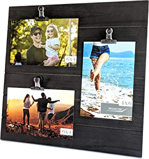 Modicum | Shiplap Photo Display Board - Picture Frame with Clips for 3 Photos (Three 4x6, or Two 4x6 with One 5x7), Easy Quick Change Photo Collage, Hang on Wall or Stand on Tabletop (Black)
