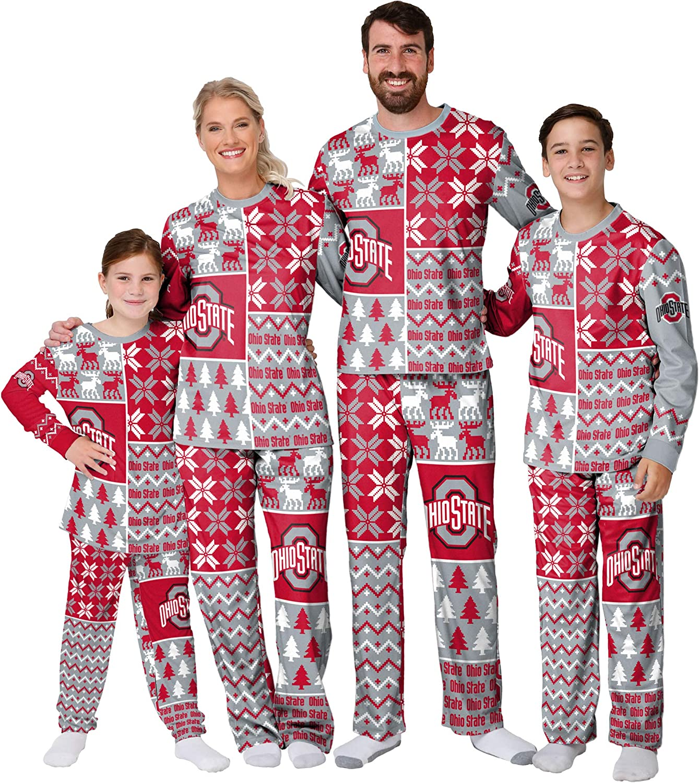 FOCO Ohio State Buckeyes security NCAA Busy Block Family Holiday Pajamas 40% OFF Cheap Sale