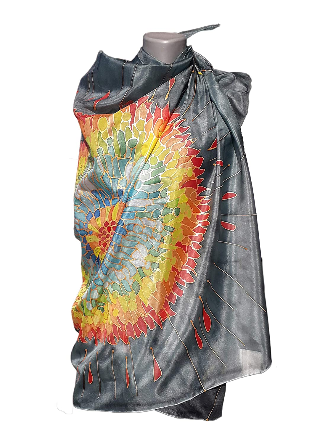 Max 44% OFF FLAMENCO Luxury goods FIRE Hand-Painted Silk Scarf Si Pure Woman