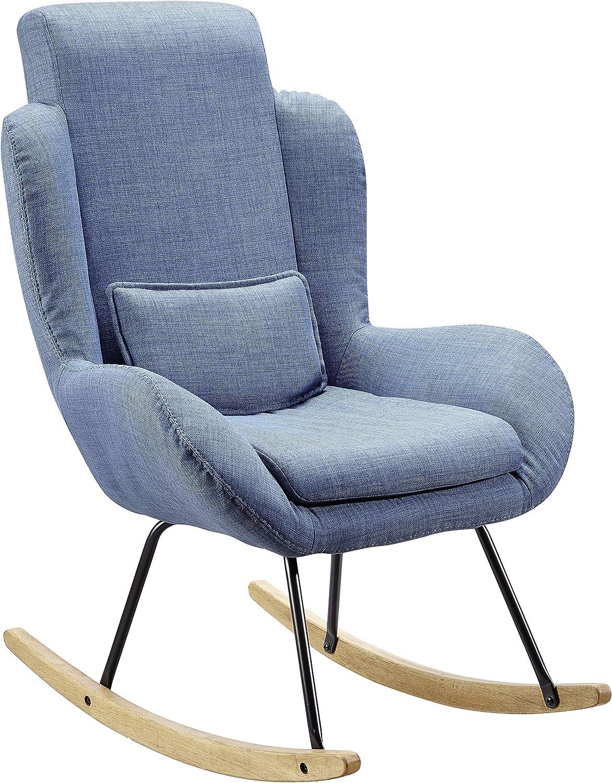 FineBuy Schaukelstuhl Corey Blau Design Relaxsessel 75 x 110 x 88,5 cm  Sessel Stoff Holz  Schwingsessel mit Gestell  Polster Relaxstuhl Schaukelsessel  Moderner Schwingstuhl  Hochlehner