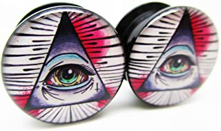 Illuminati Pyramid & Eye Ear Plugs - Acrylic Screw-On - New - 8 Sizes - Pair