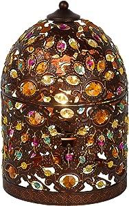 Lucide Byrsa - Tischlampe - Durchmesser 19 cm, Metall, E14, 40 W, rust braun, 19 x 19 x 29 cm