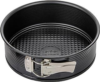 Zenker 6500 Moule à manqué à charnière, moule à gâteau rond, moule rond, Acier brillant, Noir, 20 cm
