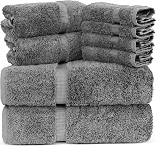 Towel Bazaar Luxury Hotel and Spa Quality Dobby Border 100% Turkish Cotton Eco-Friendly and Highly Absorbent Towel Set (Set of 8, Gray)