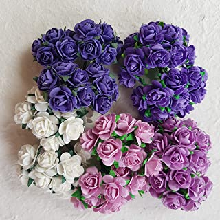 DOWDEGDEE 100 pcs Handmade Mulberry Paper Rose Flower 1.5 cm Craft Scrapbooking Scrapbook Bow Wedding Doll House Supplies Card 5 Colors Mixed Purple Tone