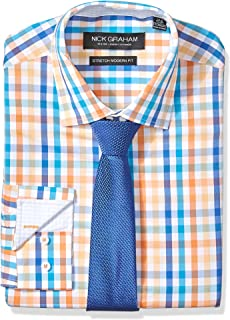 Men's Modern Fitted Multi Gingham Stretch Shirt with Solid Tie
