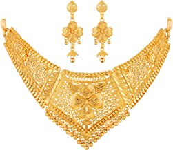 Apara Gold Plated Traditional Choker Necklace Earring One Gram Jewellery Set for Women