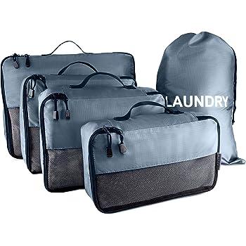 NATUMO Koffer Organizer Set, 5-teiliges Reise Kleidertaschen Set, 4 Packwürfel + 1 Wäschebeutel, Kofferorganizer Packing Cubes, Grau