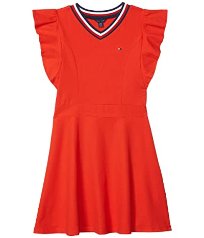 Tommy Hilfiger Kids Tommy Ruffle Dress (Big Kids) (Fiery Red) Girl