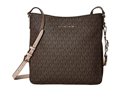 MICHAEL Michael Kors Jet Set Travel Large Messenger (Brown/Soft Pink) Messenger Bags