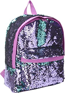 Cute Mini Backpack for Teen Girls Fashion Magic Mermaid Sparkly Sequin Small Daypacks Purse for Ladies (Purple)
