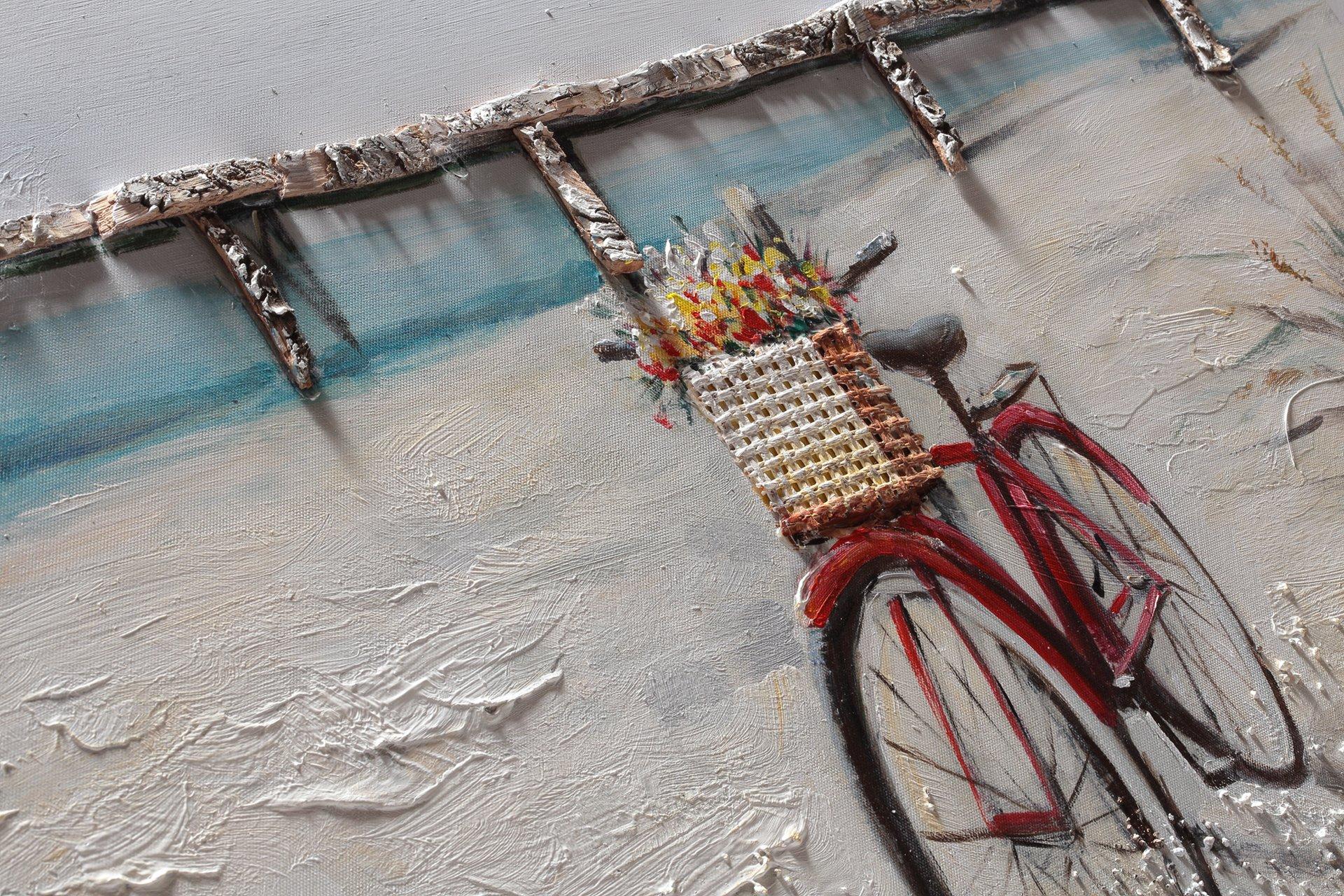 Bubola Cuadro Tricolor pintado a mano playa bicicleta playa Puente ...