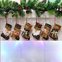 Houwsbaby Set of 6 Scottish Christmas Stockings Small Holders Kit Plush Socks Gift Bags for Kids Tartan Decor Home Ornamen...