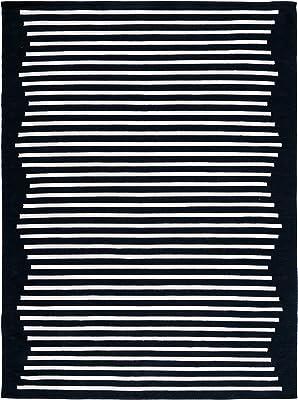 SAFAVIEH Montauk Collection MTK313Z Handmade Modern Stripe Cotton Living Room Dining Bedroom Area Rug 8' x 10' Black/Ivory