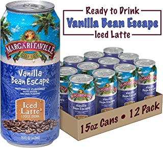 Margaritaville Coffee Pre-Made Vanilla Bean Escape Latte, Ready to Drink, 15 Fl Oz (Pack of 12)