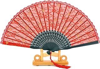 Zusammenklappbarer Fächer aus Spitze, Bambus und handgefertigter Seide in Geschenkbox, Hochzeitsgeschenk, Partygeschenk für Mädchen und Damen, plastik, rot