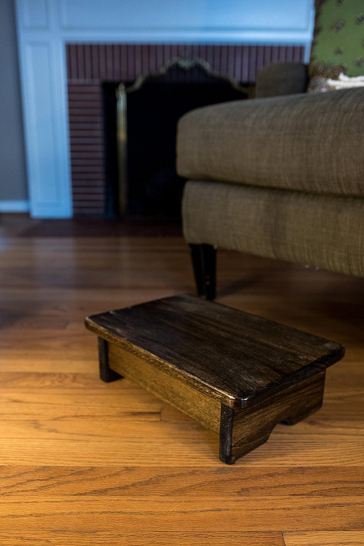 KR Ideas Foot Stool Poplar Wood 4  Tall (Made in The USA) (Walnut Stain)