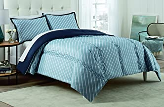 Vue 15976BEDDQUEBLU Roz 90-Inch by 90-Inch 3-Piece Queen Comforter Set, Blue