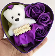 SillyMe Valentine Gift - 1 Cute Teddy with 3 Roses in Small Heart Shaped Box (Purple)