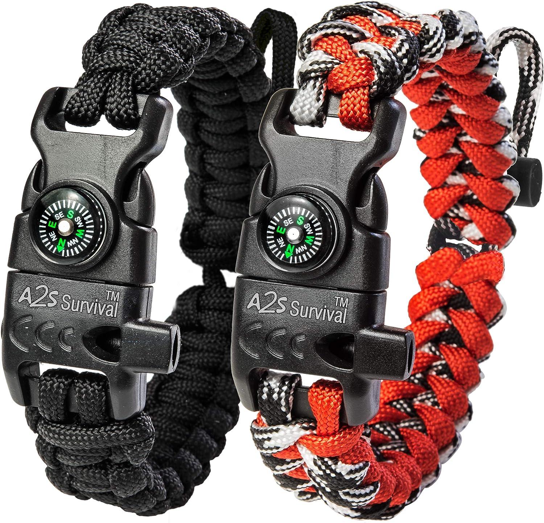 Deuxième amendement ne doit pas être porté atteinte Rouge Paracord Survival Bracelet