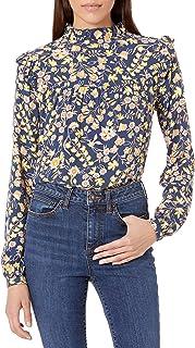 Goodthreads Womens Long Sleeve Ruffle Yoke Fluid Twill Woven Shirt