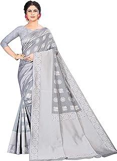 Neerav Exports Women Banarasi Saree With Blouse Piece (Silver Grey)