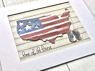 Unique Gift For Veteran, Military, Soldier, Army, Deployment - American Flag with Paper Dog Tags