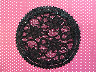 Handmade Black Lace Doily Head Cover with Sequined Trim Women`s Kippah Lady`s Yarmulke Hair Covering (with decorative bobby pin) (Style 111) Elegant Doily Exclusive