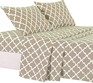 Lux Decor Collection Bed Sheet Set - Brushed Microfiber 1800 Bedding - Wrinkle, Stain and Fade Resistant - Hypoallergenic - 4 Piece (Queen, Quatrefoil Taupe)