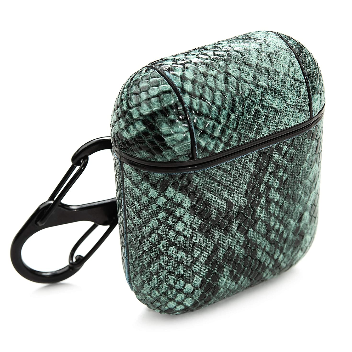PeepCase Snake Skin AirPods Cases Covers for AirPod 1 & 2 with Wireless Charging Support and Clip (Green Croc)