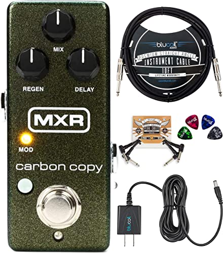 MXR M299 Carbon Copy Mini Analog Delay Pedal with True Bypass Bundle with Blucoil Slim 9V Power Supply AC Adapter, 10-FT Straight Instrument Cable (1/4in), 2x Patch Cables, and 4x Guitar Picks