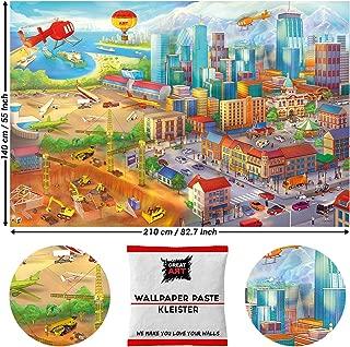 Great Art Photo Wallpaper Comic Style City Decoration 210 x 140 cm/82.7 Inch x 55 Inch - Wallpaper 5 Pieces Includes Paste.